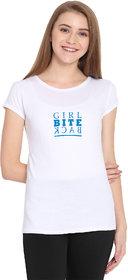 Haoser Girl Bite Back Graphic Sky Printed Half Sleeve Round Neck 100% Cotton White T-Shirt For Women's