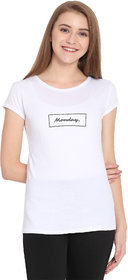 Haoser Monday Graphic Grey Printed Half Sleeve Round Neck 100% Cotton White T-Shirt For Women's