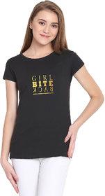 Haoser Girl Bite Back Graphic Golden Printed Half Sleeve Round Neck 100% Black T-Shirt For Women's