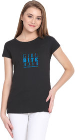 Haoser Girl Bite Back Graphic Sky Printed Half Sleeve Round Neck 100% Black T-Shirt For Women's