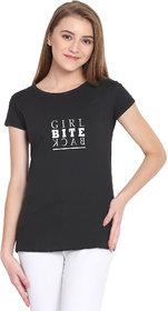 Haoser Girl Bite Back Graphic White Printed Half Sleeve Round Neck 100% Black  T-Shirt For Women's