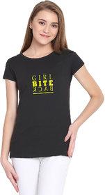Haoser Girl Bite Back Graphic Yellow Printed Half Sleeve Round Neck 100% Black T-Shirt For Women's