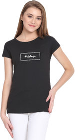 Haoser Friday Graphic White Printed Half Sleeve Round Neck 100% Black T-Shirt For Women's