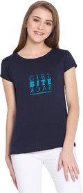 Haoser Girl Bite Back Graphic Sky Printed Half Sleeve Round Neck 100% Navy Blue T-Shirt For Women's
