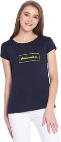 Haoser Saturday Graphic Yellow Printed Half Sleeve Round Neck 100% Navy Blue T-Shirt For Women's
