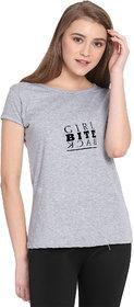 Haoser Girl Bite Back Graphic Black Printed Half Sleeve Round Neck 100% Grey T-Shirt For Women's