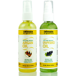 Donnara Organics 100% Pure Argan oil and Grapeseed oil Combo of 2 Bottles of 100 ml(200 ml)