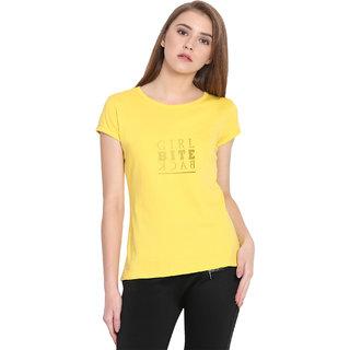 Haoser Girl Bite Back Graphic Golden Printed Half Sleeve Round Neck 100% Yellow T-Shirt For Women's