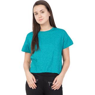 Haoser Women Blue Cotton Regular Fit Short Top