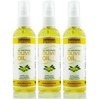 Donnara Organics Premium Extra Light Olive oil- 100% Pure & Natural Combo pack of 3 bottles of 100 ml(300 ml)