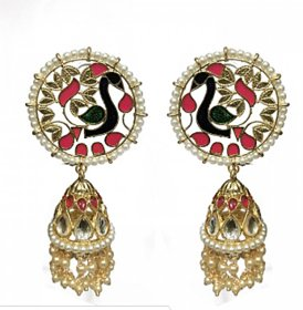 Vansha Gold Plated Kundan and Blue Meena Jhumki