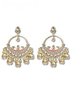 Charita Gold Plated Kundan and Pink Meena Jhumki