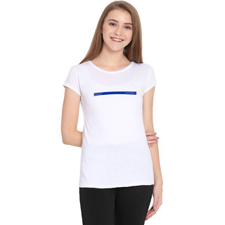 Haoser Women's White Printed Cap Sleeves T-Shirt