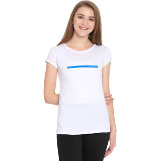 Haoser Women's White Stylish Printed Cap Sleeves T-Shirt
