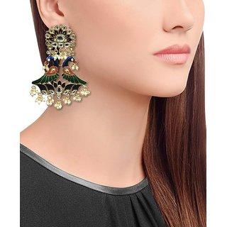 Mor Gold Plated Kundan and Meena Earrings