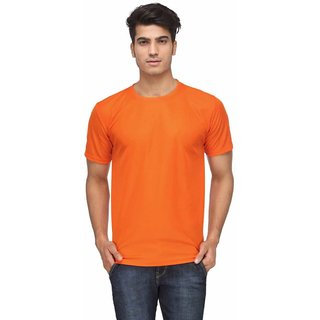 Ajeraa Orange Men's Cotton Half Sleeve T-Shirt