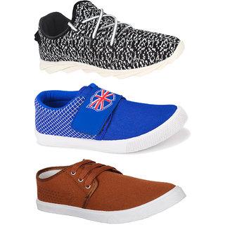 Bersache Men's Combo Pack of 3 Multicolor Shoe