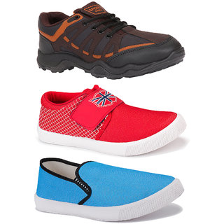 Bersache Men's Combo Pack of 3 Multicolor Shoe