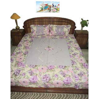 AH Elastic Fitted Queen Size Patch Work Cotton Double Bedsheet With 2 Pillow Cover Floral - Multi color ( 6x6 ft matress )