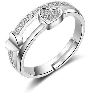 Sukkhi Graceful Valentine Heart Australian Diamond Rhodium Plated Ring for Women