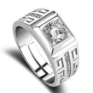 Sukkhi Designer Cubic Zirconia Rhodium Plated Gents Ring for Men