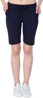 Haoser Navy Blue Solid Cotton Slim Fit Women Capri