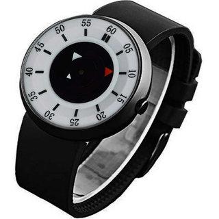 Varni Retail New White Dial Black Analog Watch - For Men