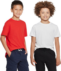 Cliths Solid Cotton Boy's Tshirts For Sport/Kids Tshirts For Daily Use- Red And White