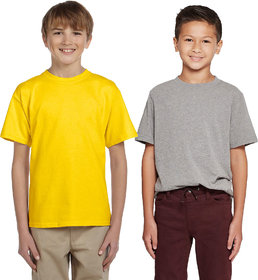 Cliths Boy's Casual Tshirts For daily Use/ Sport Tshirts For Kids-Yellow and Light Grey