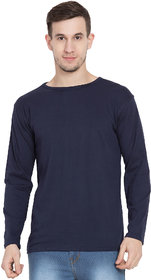 Cliths Tshirts For Men Full Sleeves, Navy Blue Round Neck Full Sleeve Tshirts For Men