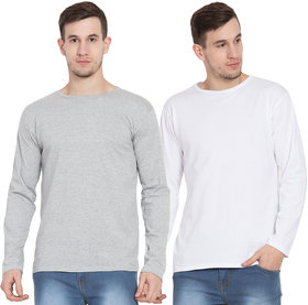 Cliths Pack Of 2 Tshirt For Men Full Sleeve /Grey And White Round Neck Tshirt