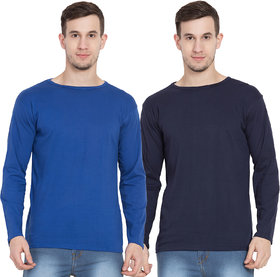 Cliths Full Sleeves Cotton Tshirt for Men /Royal Blue And Navy Round Neck Tshirt -Set Of 2