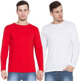 Cliths Slim Fit Solid Cotton Red And White Full Sleeves Tshirts For Men Casual Stylish-Pack Of 2