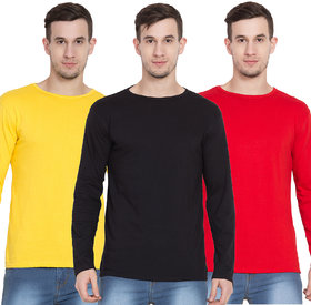Cliths Full Sleeves Tshirts for Men, Pack of 3 Cotton Round Neck Tshirts (Yellow, Red, Black)