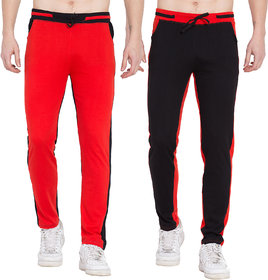Cliths Red and Black Jogger Pants for Men, Lowers For Men- Pack of 2