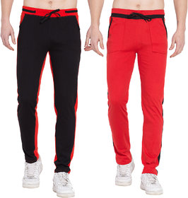 Cliths Sports lower for men stylish Cotton Trackpants- Pack of 2 (Red, Black)