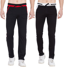Cliths Pack Of 2- Black White, Black Red Stylish Joggers For Men/ Casual Trackpants For Men