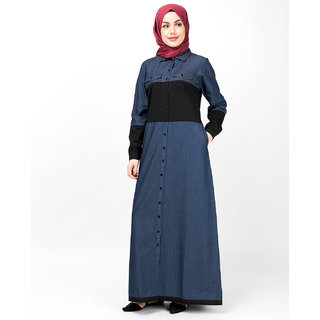 SILK ROUTE London Blue  Black Full Front Open Denim Abaya For Women Height of 5'2 inches, Abaya Length is 54 inches