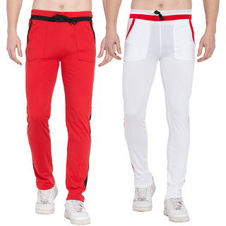 Cliths Mens Active Sports Training Pants Casual Gym Jogger Sweatpants with Pockets- Pack of 2 (White Red)