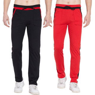 Cliths Mens Active Sports Training Pants Casual Gym Jogger Sweatpants with Pockets- Pack of 2 (Black Red)