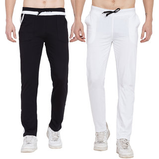 Cliths Mens Active Sports Training Pants/ Casual Gym Jogger Sweatpants with Pockets- Pack of 2 (White Black)