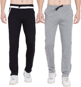 Cliths Set of 2 Casual Cotton Lowers For Men/ Grey Black, Grey White Trackpants for Men