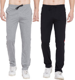 Cliths Pack of 2 Cotton Trackpants For Men/ Stylish Sport lowers for Men (Black Red, Black Grey)