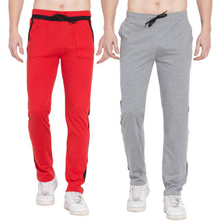 Cliths Mens Active Sports Training Pants Casual Gym Jogger Sweatpants with Pockets- Pack of 2 (Grey Black Red Black)
