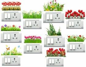 Pack Of 10 Decor Villa Pvc Multicolor Switch Board Wall Sticker (Size-35 X 38 Cm)