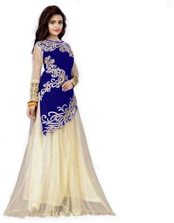 Designer Blue And Beige Colour Velvet Material Wedding, Party, Wear Lehengha choli For Women And Girls(JoyavelvetBlue)