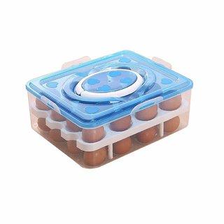 Nucleya Retail 32 Grid Egg Box Food Container Organizer Convenient Storage Boxes Double Layer // Multi Colour
