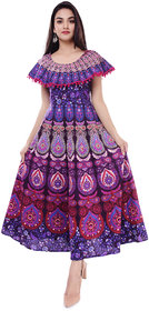 Dhruvi Casual Wear Cotton Long Maxi Dress for Women with Pom Pom(Free Size Up to 44)
