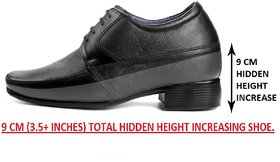 Bxxy's 9 cm (3.5 Inch) Height Increasing Dress Shoe Derby Lace-Up Formal Full Leather Shoes