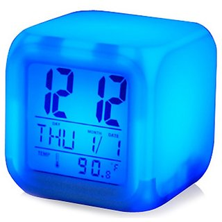 Square Color Changing Digital LCD Alarm Table Desk Clock with Calender Time Temp